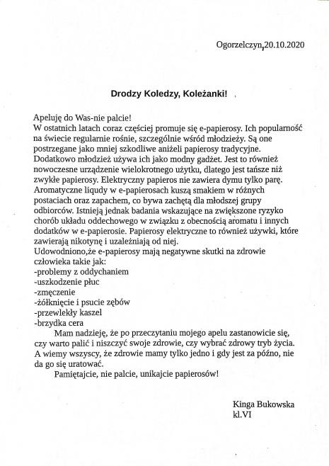 Kinga Bukowska list